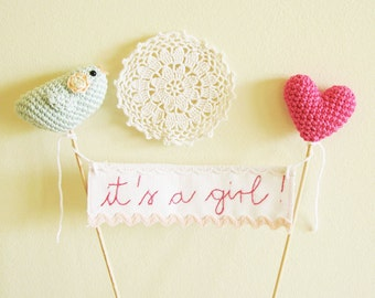 It's a girl Cake Banner, Baby Shower Cake Topper, Crochet Baby Shower Gift, Baby Girl Shower Decor