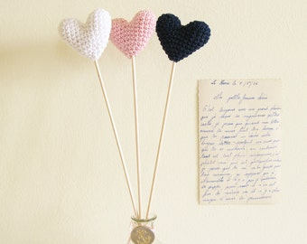 Crochet Hearts On Sticks, Wedding Table Vase Decor, White Pink and Navy