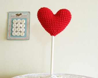Red Crochet Heart Wedding Decoration Party Stick