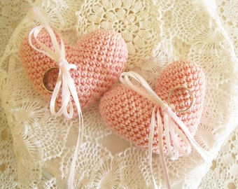Pink Wedding Ring Pillow, Heart Ring Bearer, Crochet Ring Pillow, Wedding Ring Cushion, Soft Pink