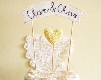 Custom Name Wedding Cake Topper, Personalized Banner Cake Topper, Name Cake Topper