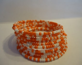 Memory Wire College Football White and Orange Wrap Bracelet