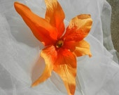 Orange Hawaiin Orchid Hair Clip