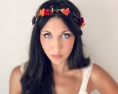 Autumn Flower Crown, Fall Wedding Tiara, wedding accessories, bridal flower, red, purple, orange, yellow