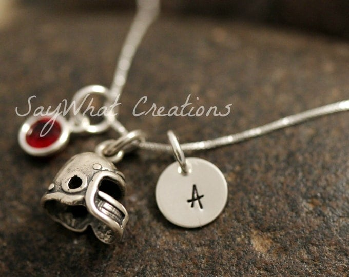 Sterling Silver Mini Initial Charm Necklace with Football Helmet Charm and birthstone
