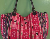 SALE 25% OFF Vintage Hmong Tribe tote handbag Handmade textile leather straps HB2012-009