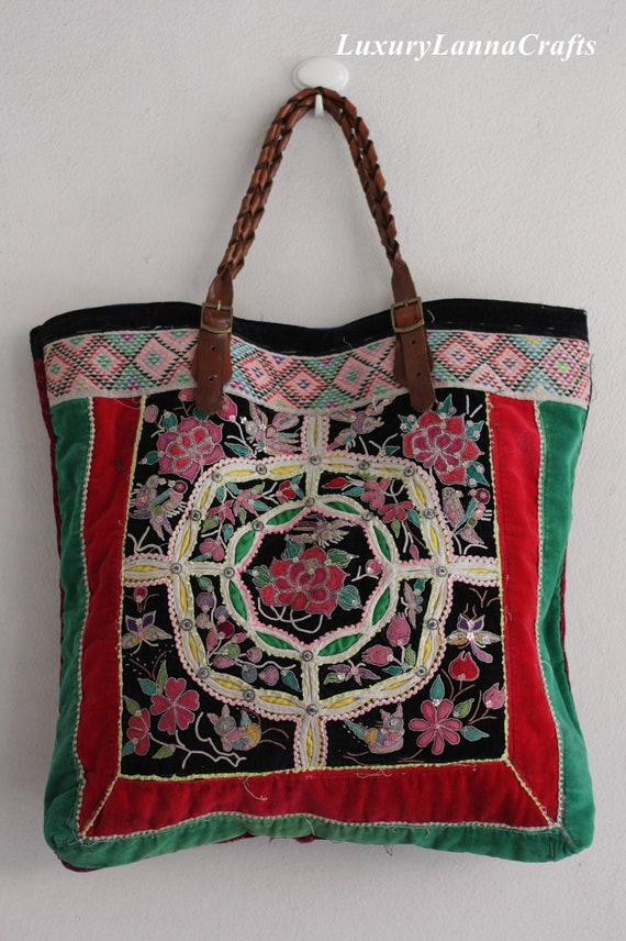 Luxury Lanna Hmong vintage tote bag ethnic miao rare 2 piece flowers summer Hb2012-Z700