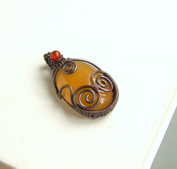 Aragonite carnelian copper necklace, yellow aragonite gemstone pendant