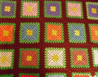 Bright Vintage Granny Afghan with Large Squares-50 by 50 Inches