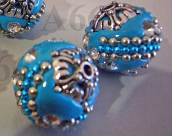 Vintage Look DIY Detailed Beads Blue Silver Color 18mm x 19mm, 4pcs with details, Rhinestones Through hole for jewelry making, craft Bead