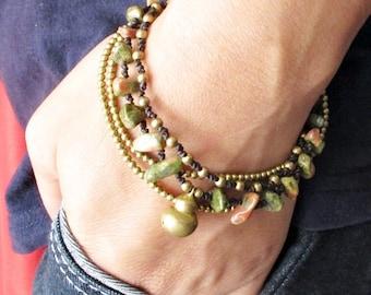 Multi Strand Unakite and Brass Bead Bracelet