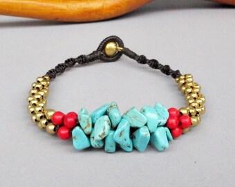 Two tone Stone Stud Bracelet B145