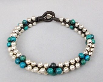 Chrysocolla Beaded with Silver Colour Bead Bracelet B154