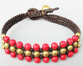 Mini Triple Row Macrame Bracelet with Red Coral Bead B185