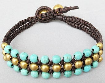 Mini Triple Row Macrame Bracelet with Turquoise  Bead B185
