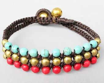 Mini Triple Row Macrame Bracelet with Turquoise and Red Coral Bead B185