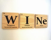 Periodic table of elements WINE wooden tile wall art with quote - 15tangerines