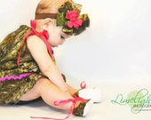 Baby girl camo gift set, MossyOak dress, MossyOak shoes, MossyOak hair bow