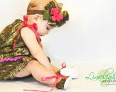 Baby girl camo gift set, MossyOak dress, MossyOak shoes, MossyOak hair bow, Camo photo prop