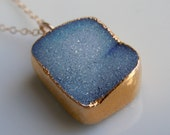 Druzy Drusy Necklace in Sky Blue, SOMETHING BLUE