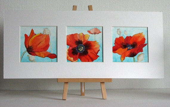 Poppies original watercolour painting triptych three in one matted