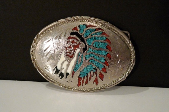 Indian Belt Buckle Turquoise Coral Silver SSI Native American Indian Tribal Vintage Retro Cowgirl Rockabilly Western FREE SHIP