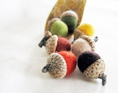 7 felted acorn fall colors