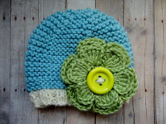 Baby Beanie Hat in Robin Egg Blue, Off white with Green Crochet Flower and Button Center Shabby Chic Hippie Style Baby Photo Prop