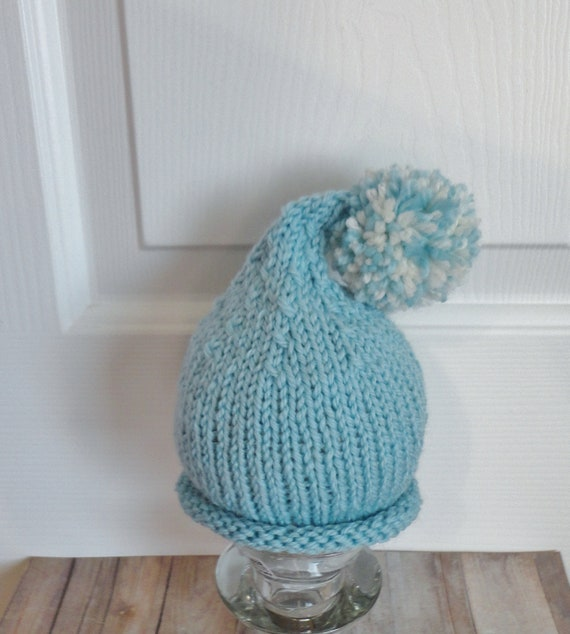 Newborn Elf Pixie Beanie in Baby Blue with Blue and Cream Pompom Baby Photo Prop Shabby Chic Hippie Style
