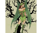 sage green Watercolor illustration fairy art print, winged faerie