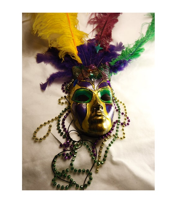 Mardi Gras Feather Carnival Masquerade Mask, OOAK, Halloween Costume mask, wearable art, purple yellow green colors