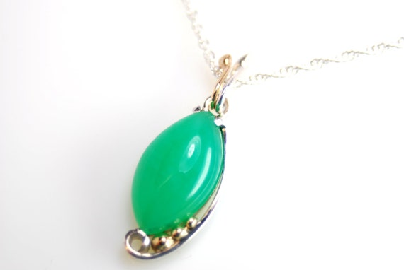 Chrysoprase pendant in sterling silver and 14k gold- hand fabricated artisan jewelry- New Leaf