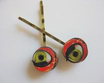 Colorful Doll Eye Bobby Pin Pair