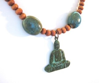 Patina Copper Meditating Buddha Turquoise Ceramic Wood Bead Necklace
