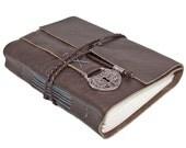 Dark Brown Leather Journal with Heart Locket Charm Bookmark