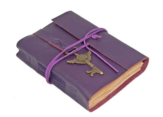 Purple Leather Journal with Tea Stained Pages