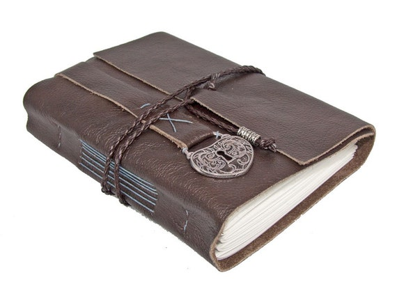 Dark Brown Leather Journal with Heart Locket Charm Bookmark