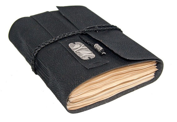 Black Vegan Faux Leather Journal with Tea Stained Pages