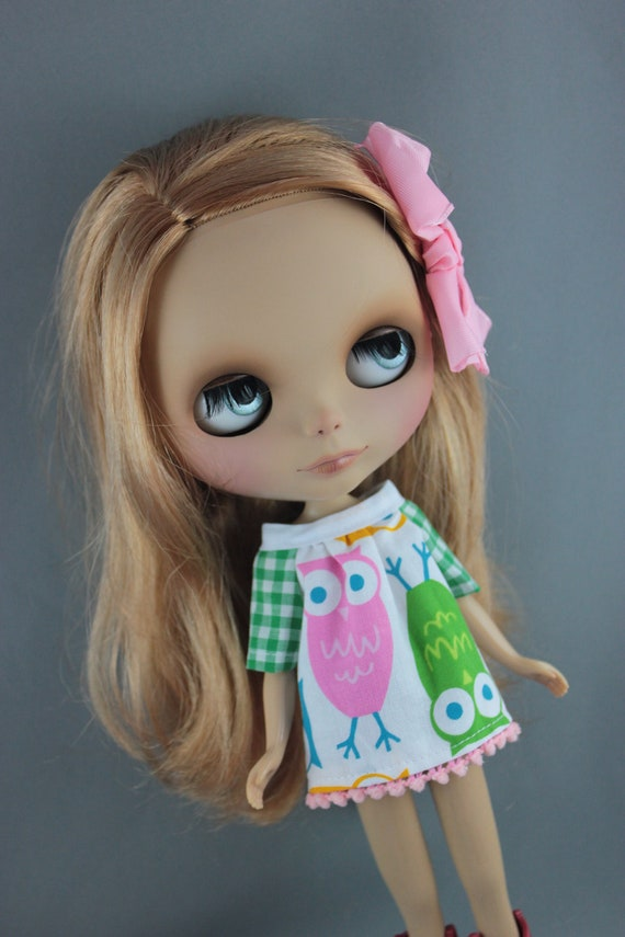 SALE Blythe Smock Style Dress - Pink and Green Owls   HOOT Hoot