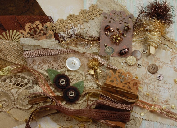 Antique Mocha. Inspiration Kit. Textile/Embellishment Collection. Antique gold and browns No. 79b