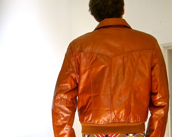 Vintage 1980s Rust Leather Bomber Men's William Barry Sz 40
