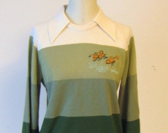 Green Hues Embroidered Ducks Sweater Top