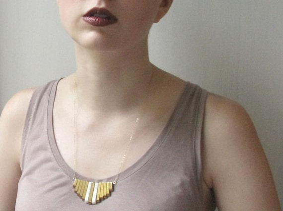 Gemstone Necklaces - Golden Hematite and Porcelain Necklace
