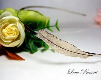 Antique Petite Feather Headband art nouveau vintage style elegant bridal hair accessory - Choose your color