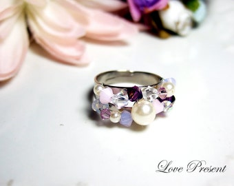 Bridesmaids Gift -  Elegant Romantic Antique adjustable Ring with Swarovski Crystals (Custom Made) - Choose your color