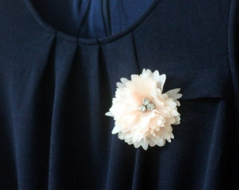 Flower Brooch - Grand Pompon Daisy Flower Brooch or Snap Clip with Swarovski crystal at Center- Baby Pink Coral