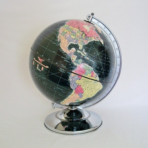 "Vintage Globe - 1948 Replogle 12"" Black Oceans Globe - Stunning - TREASURY PICK"