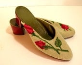 Vintage Needlepoint Shoes With Roses