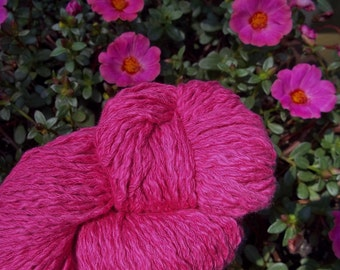 CHUNKY Weight Yarn - Vivid Pink Pima Cotton - 100g 145 yards - Queensland Pima Fresca - rose pink