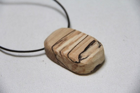 so pretty it looks painted - spalted maple chunk on a leather cord